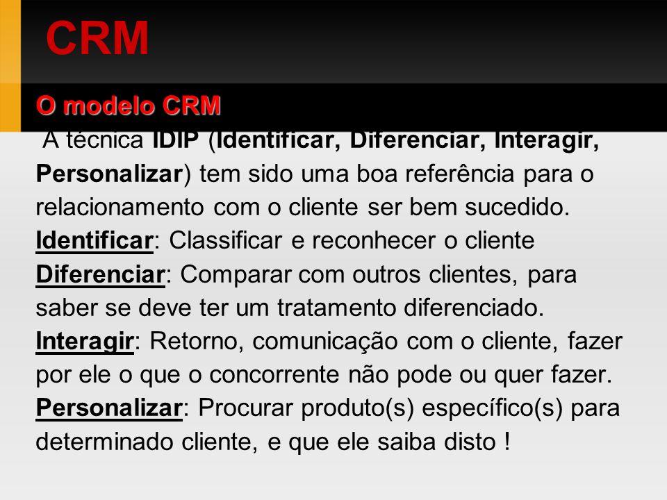 O modelo CRM A técnica IDIP (Identificar, Diferenciar, Interagir, Personalizar) tem sido uma boa referência para o relacionamento com o cliente ser be