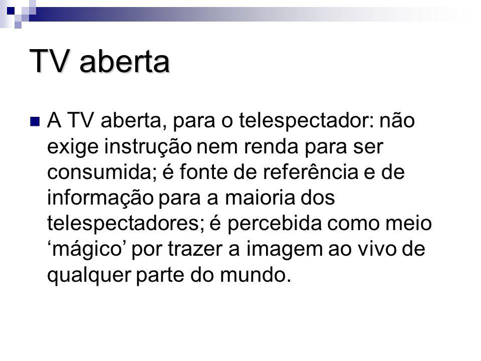TV aberta A TV aberta, para o telespectador: não exige instrução nem renda para ser consumida; é fonte de referência e de informação para a maioria do