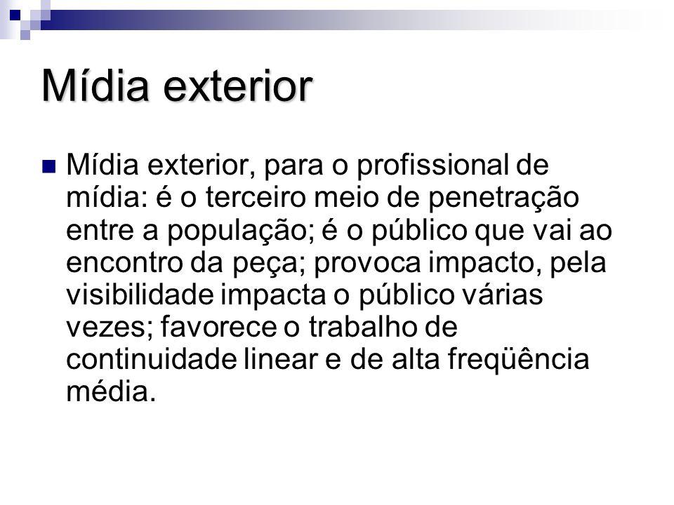 Mídia exterior Mídia exterior, para o profissional de mídia: é o terceiro meio de penetração entre a população; é o público que vai ao encontro da peç
