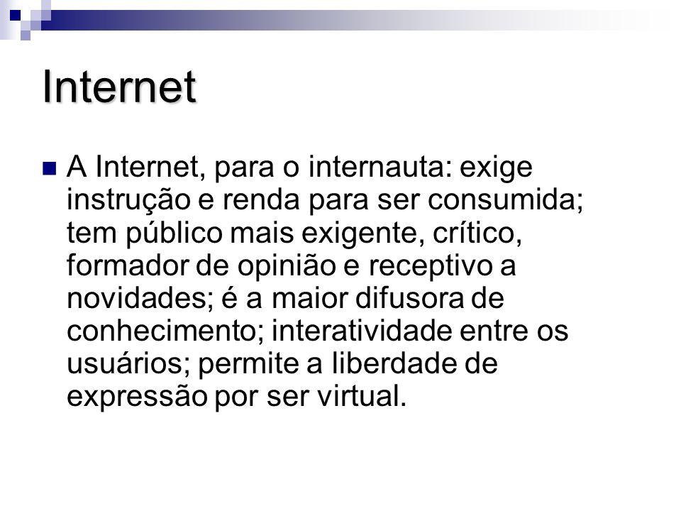 Internet A Internet, para o internauta: exige instrução e renda para ser consumida; tem público mais exigente, crítico, formador de opinião e receptiv