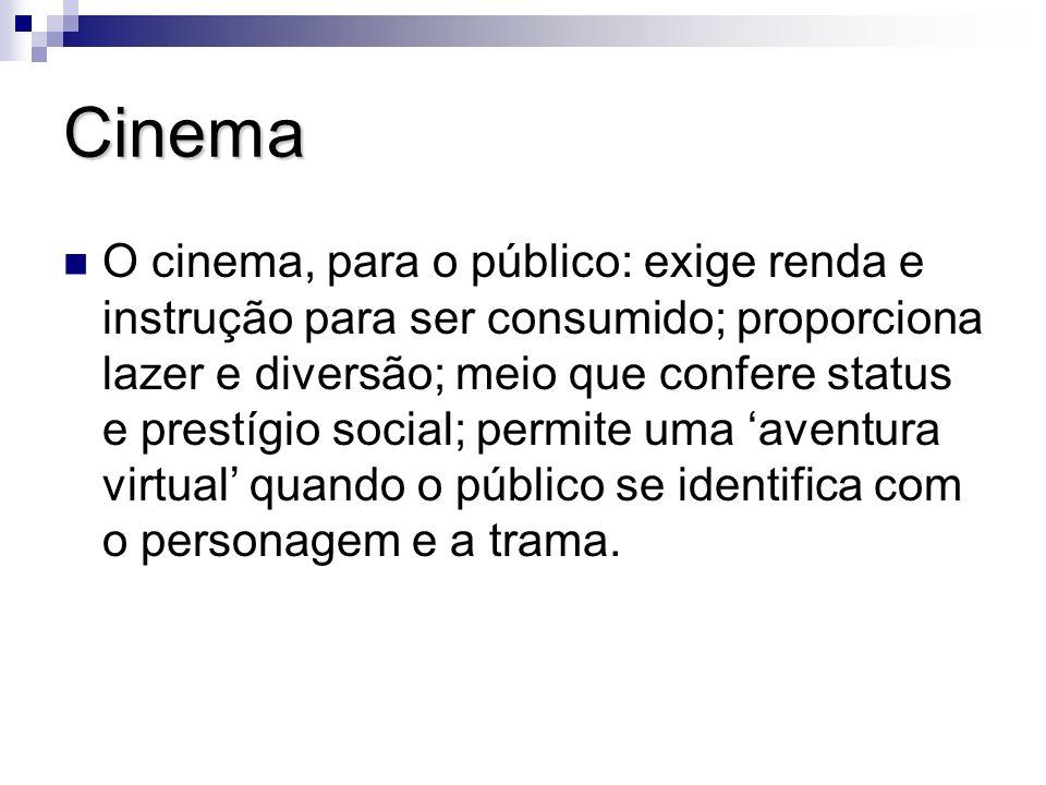 Cinema O cinema, para o público: exige renda e instrução para ser consumido; proporciona lazer e diversão; meio que confere status e prestígio social;