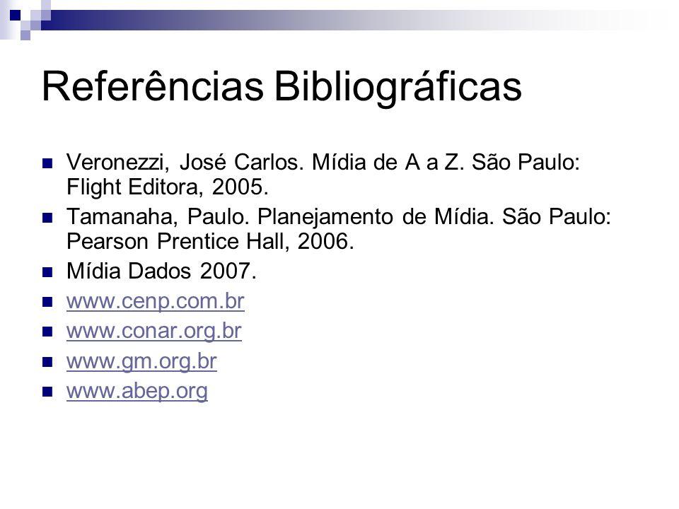 Referências Bibliográficas Veronezzi, José Carlos. Mídia de A a Z. São Paulo: Flight Editora, 2005. Tamanaha, Paulo. Planejamento de Mídia. São Paulo: