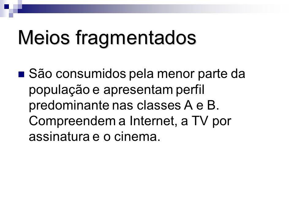 Meios fragmentados São consumidos pela menor parte da população e apresentam perfil predominante nas classes A e B. Compreendem a Internet, a TV por a
