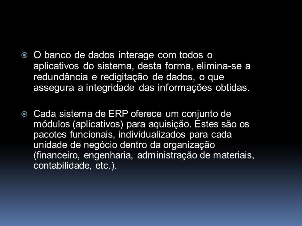 O banco de dados interage com todos o aplicativos do sistema, desta forma, elimina-se a redundância e redigitação de dados, o que assegura a integrida