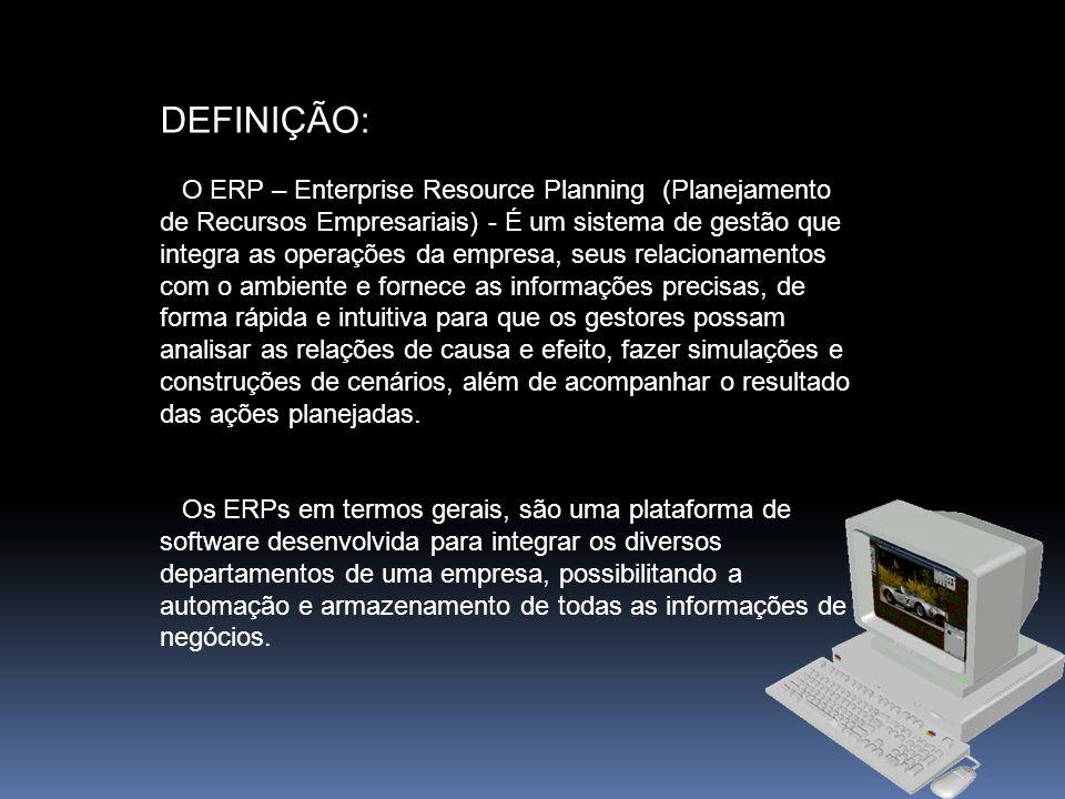 Alguns ERPs conhecidos: Corpore RM da RM Sistemas R/3 da SAP Protheus da Microsiga EMS da Datasul Aptus ERP da Aptus Tecnologia Mult-Gestor da Multilogica Sistemas Factory da Núcleo Sistemas Entre Outros.