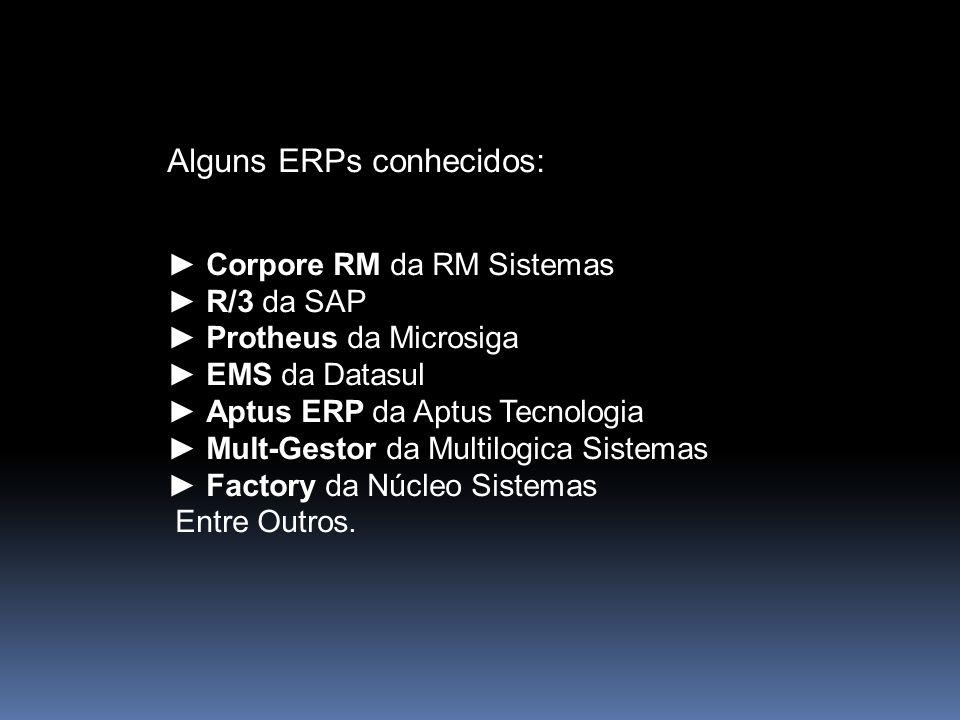 Alguns ERPs conhecidos: Corpore RM da RM Sistemas R/3 da SAP Protheus da Microsiga EMS da Datasul Aptus ERP da Aptus Tecnologia Mult-Gestor da Multilo