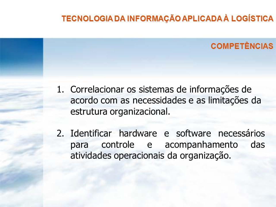 TECNOLOGIA DA INFORMAÇÃO APLICADA À LOGÍSTICA COMPETÊNCIAS 1.Correlacionar os sistemas de informações de acordo com as necessidades e as limitações da