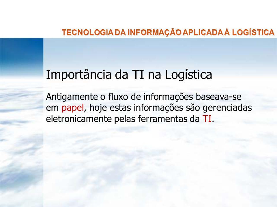TECNOLOGIA DA INFORMAÇÃO APLICADA À LOGÍSTICA Importância da TI na Logística Consequências: Redução dos custos logísticos Aperfeiçoamento dos serviços Melhoria na oferta de informações ao cliente
