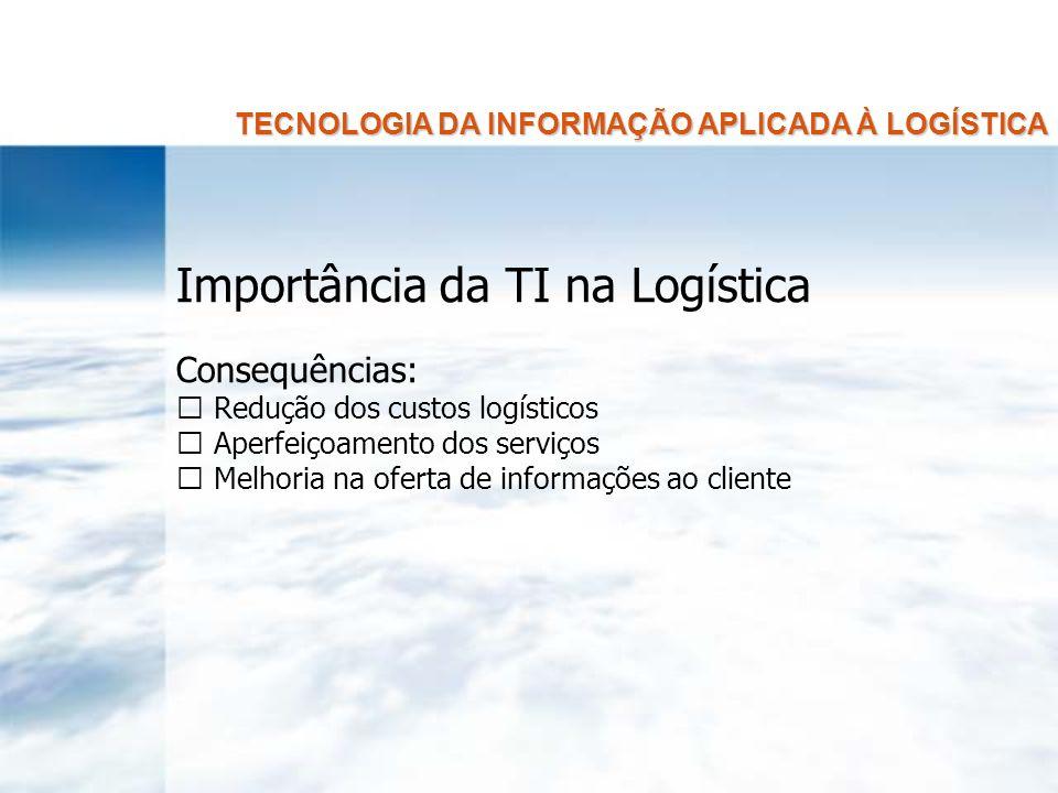 TECNOLOGIA DA INFORMAÇÃO APLICADA À LOGÍSTICA Importância da TI na Logística Três principais razões: Os clientes percebem as informações sobre status do pedido, disponibilidade do produto, programação de entrega, etc.