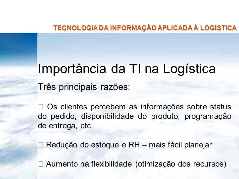 TECNOLOGIA DA INFORMAÇÃO APLICADA À LOGÍSTICA Importância da TI na Logística Três principais razões: Os clientes percebem as informações sobre status