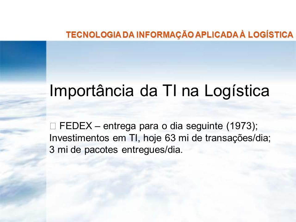 TECNOLOGIA DA INFORMAÇÃO APLICADA À LOGÍSTICA Importância da TI na Logística FEDEX – entrega para o dia seguinte (1973); Investimentos em TI, hoje 63