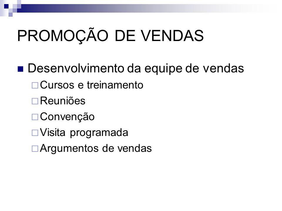PROMOÇÃO DE VENDAS Desenvolvimento da equipe de vendas Cursos e treinamento Reuniões Convenção Visita programada Argumentos de vendas