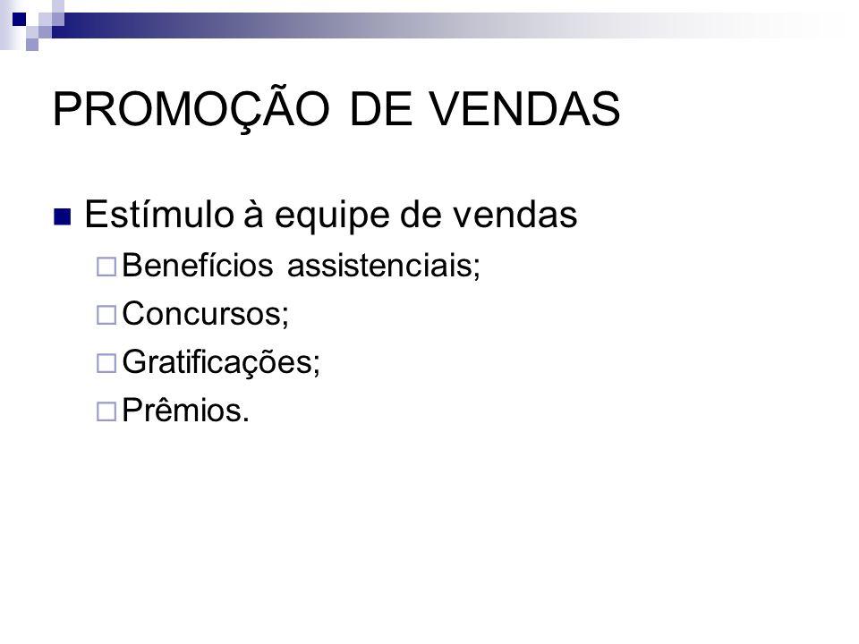PROMOÇÃO DE VENDAS Estímulo à equipe de vendas Benefícios assistenciais; Concursos; Gratificações; Prêmios.