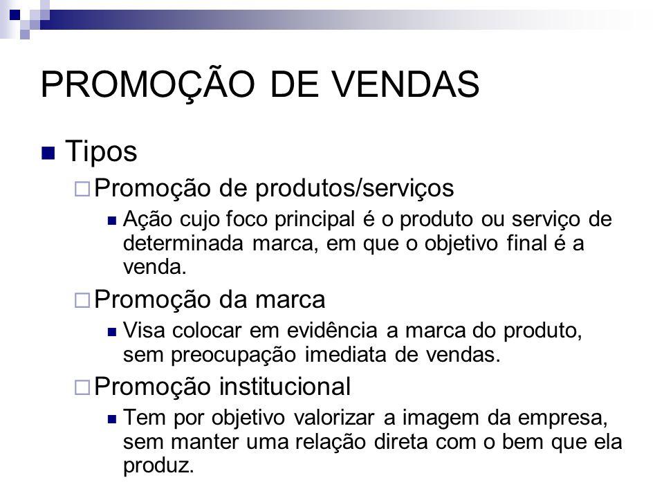 PROMOÇÃO DE VENDAS Tipos Promoção de produtos/serviços Ação cujo foco principal é o produto ou serviço de determinada marca, em que o objetivo final é