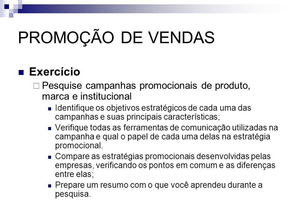 PROMOÇÃO DE VENDAS Exercício Pesquise campanhas promocionais de produto, marca e institucional Identifique os objetivos estratégicos de cada uma das c