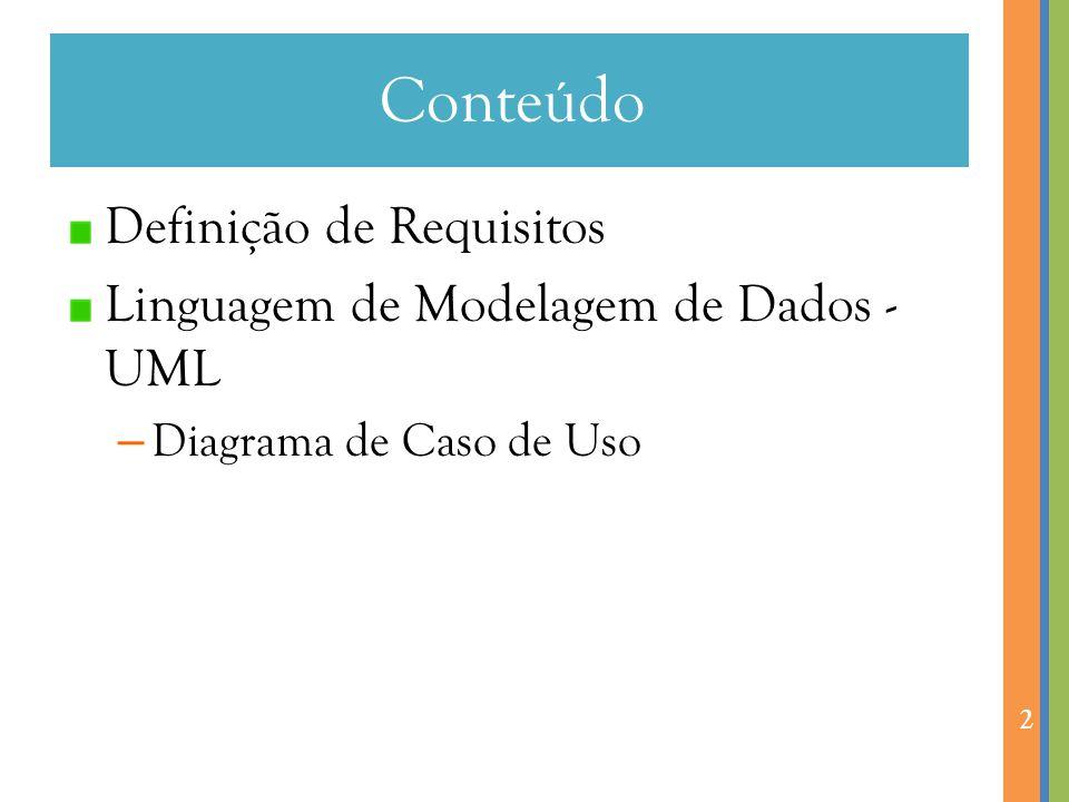 Conteúdo Definição de Requisitos Linguagem de Modelagem de Dados - UML – Diagrama de Caso de Uso 2