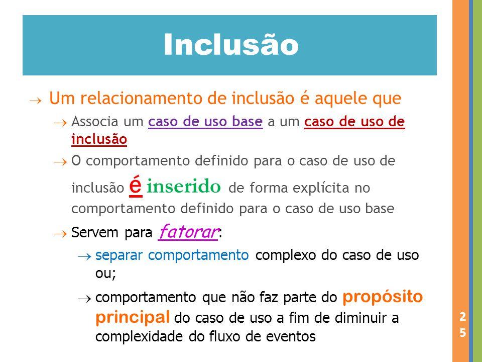 Inclusão Um relacionamento de inclusão é aquele que Associa um caso de uso base a um caso de uso de inclusão O comportamento definido para o caso de u