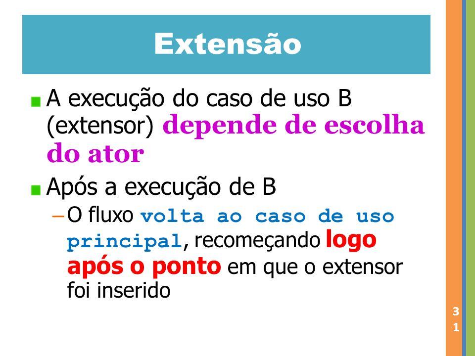 Extensão A execução do caso de uso B (extensor) depende de escolha do ator Após a execução de B – O fluxo volta ao caso de uso principal, recomeçando logo após o ponto em que o extensor foi inserido 31