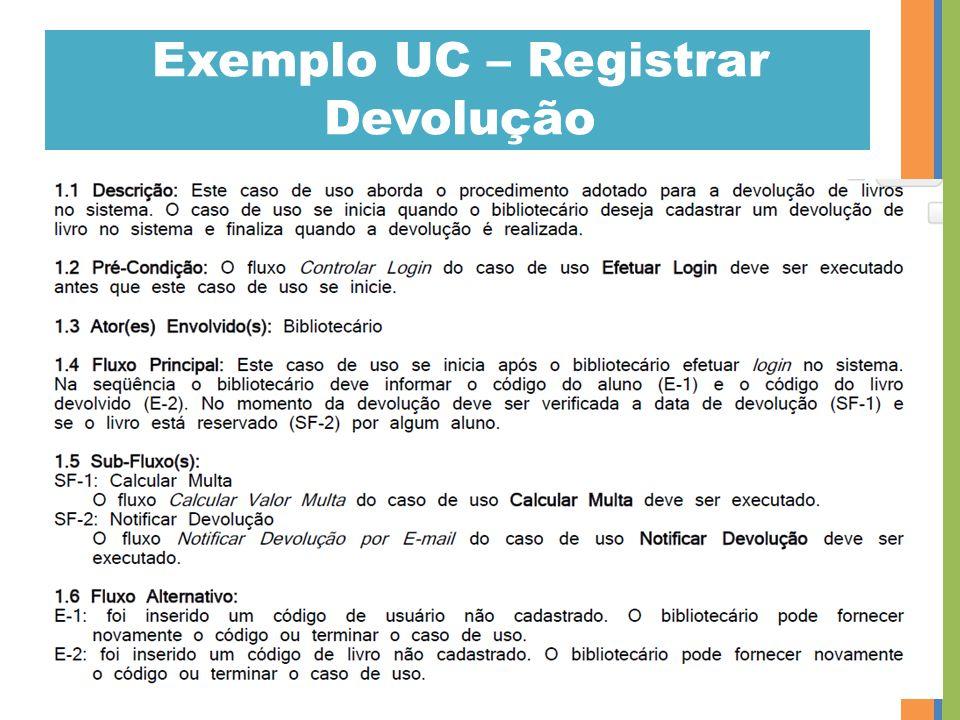Exemplo UC – Registrar Devolução 47
