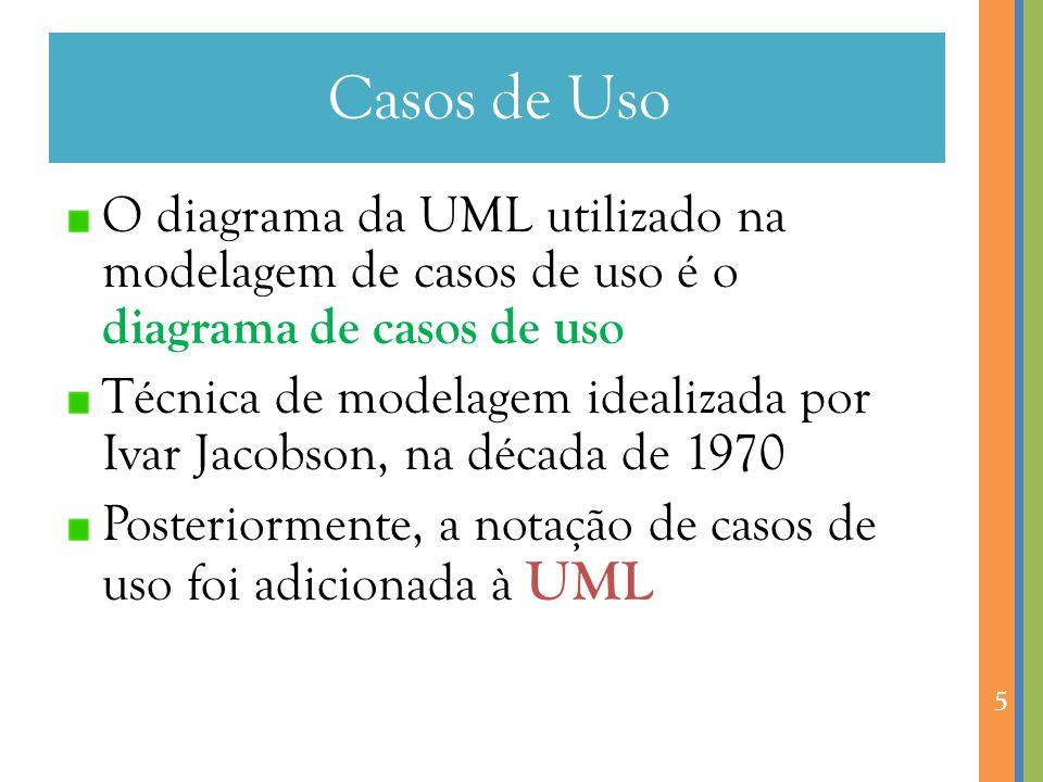 Casos de Uso O diagrama da UML utilizado na modelagem de casos de uso é o diagrama de casos de uso Técnica de modelagem idealizada por Ivar Jacobson, na década de 1970 Posteriormente, a notação de casos de uso foi adicionada à UML 5