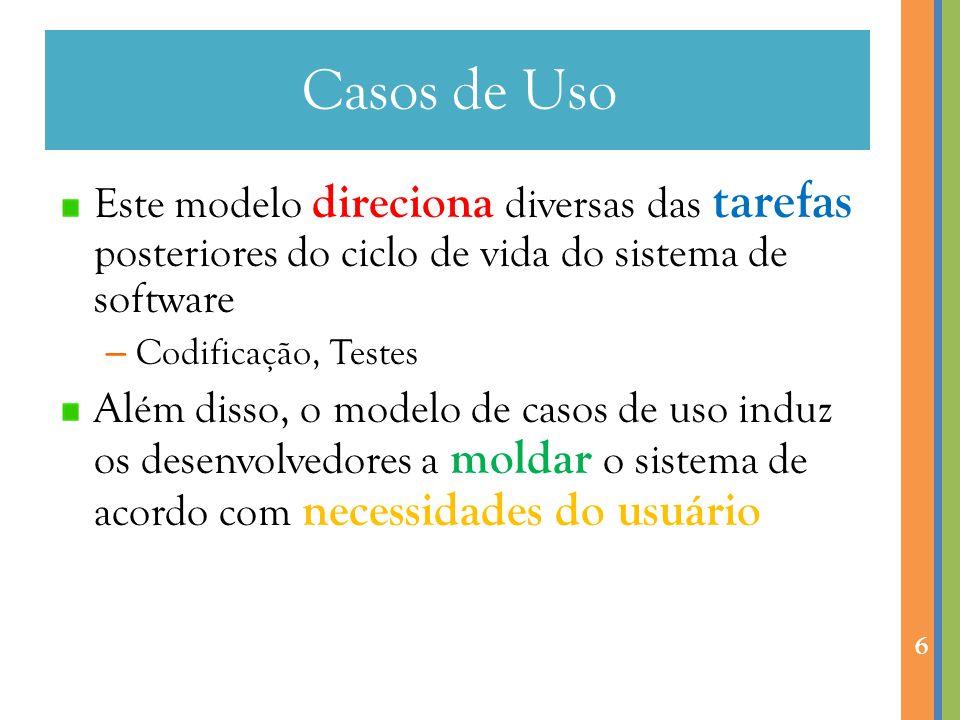 Casos de Uso Este modelo direciona diversas das tarefas posteriores do ciclo de vida do sistema de software – Codificação, Testes Além disso, o modelo de casos de uso induz os desenvolvedores a moldar o sistema de acordo com necessidades do usuário 6
