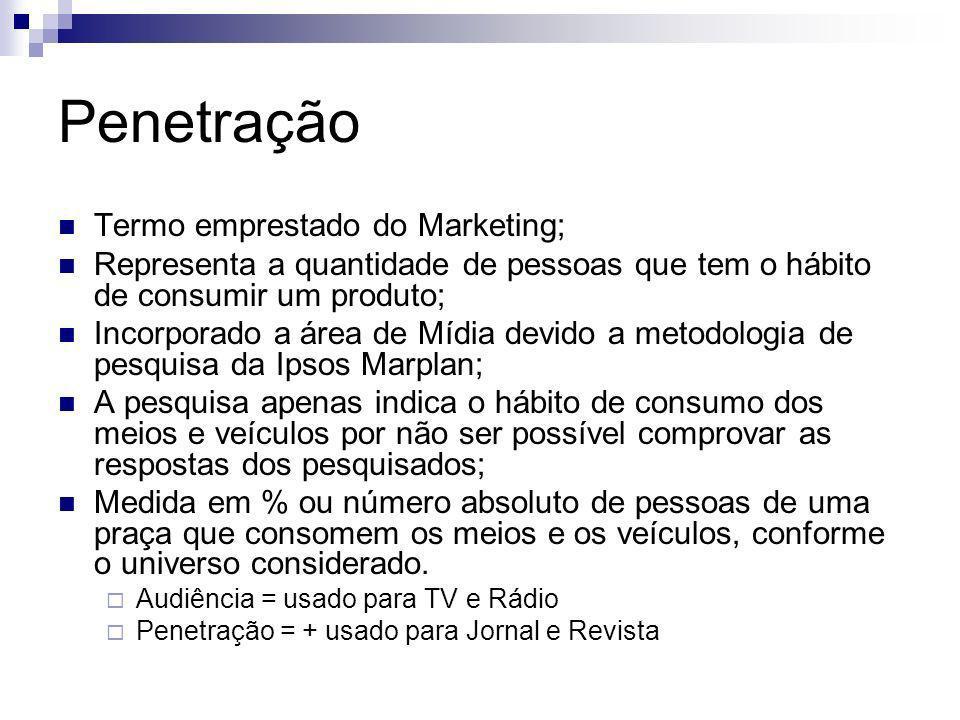 Penetração Termo emprestado do Marketing; Representa a quantidade de pessoas que tem o hábito de consumir um produto; Incorporado a área de Mídia devi