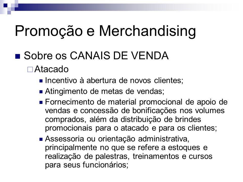 Promoção e Merchandising Sobre os CANAIS DE VENDA Atacado Incentivo à abertura de novos clientes; Atingimento de metas de vendas; Fornecimento de mate