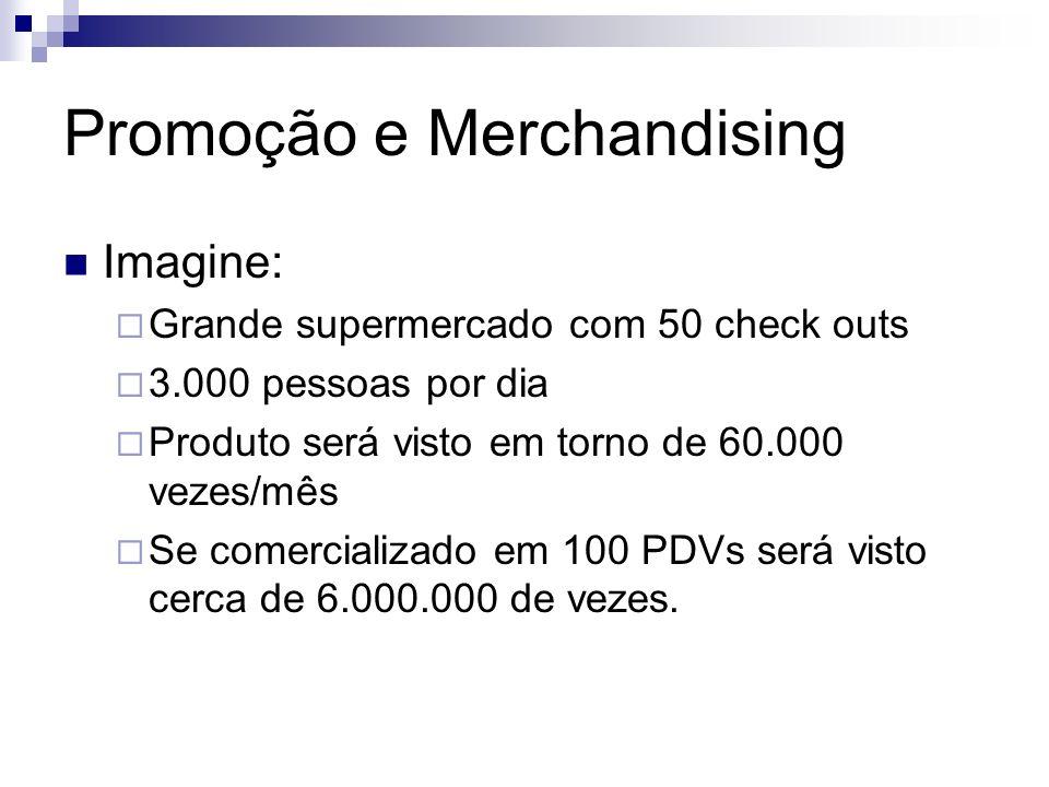 Promoção e Merchandising Imagine: Grande supermercado com 50 check outs 3.000 pessoas por dia Produto será visto em torno de 60.000 vezes/mês Se comer