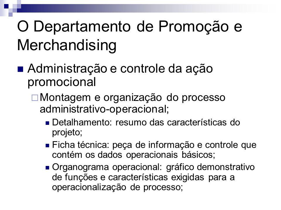 O Departamento de Promoção e Merchandising Administração e controle da ação promocional Montagem e organização do processo administrativo-operacional;