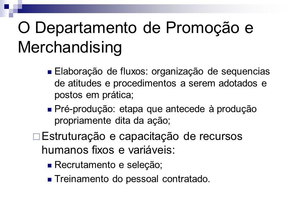 O Departamento de Promoção e Merchandising Elaboração de fluxos: organização de sequencias de atitudes e procedimentos a serem adotados e postos em pr
