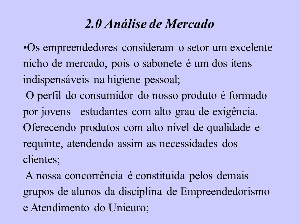 2.0 Análise de Mercado Os empreendedores consideram o setor um excelente nicho de mercado, pois o sabonete é um dos itens indispensáveis na higiene pe