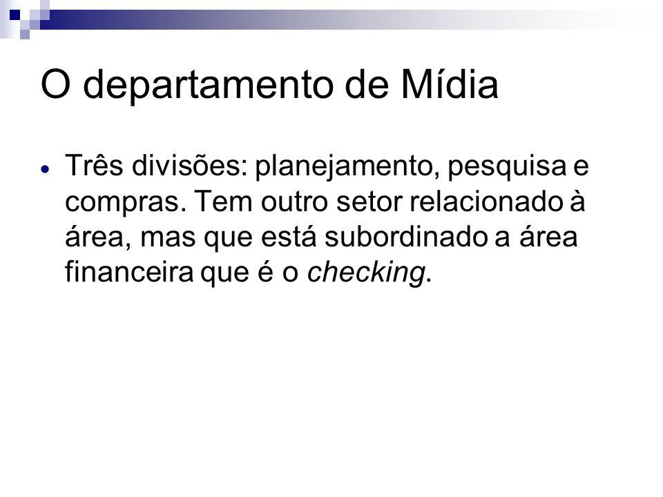 O departamento de Mídia Três divisões: planejamento, pesquisa e compras. Tem outro setor relacionado à área, mas que está subordinado a área financeir