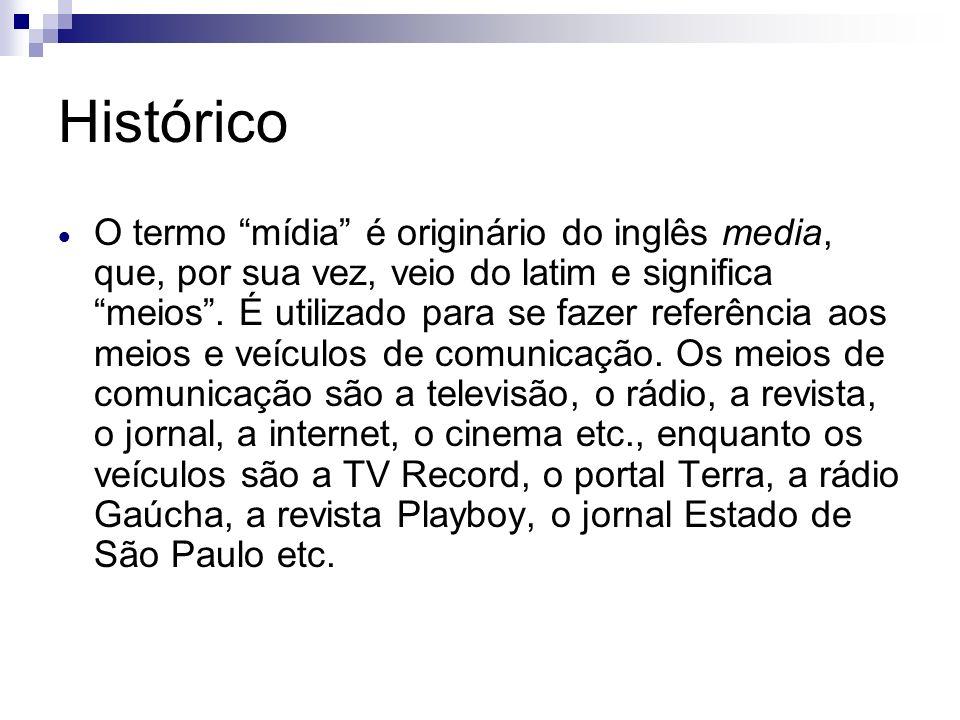 Histórico O termo mídia é originário do inglês media, que, por sua vez, veio do latim e significa meios. É utilizado para se fazer referência aos meio