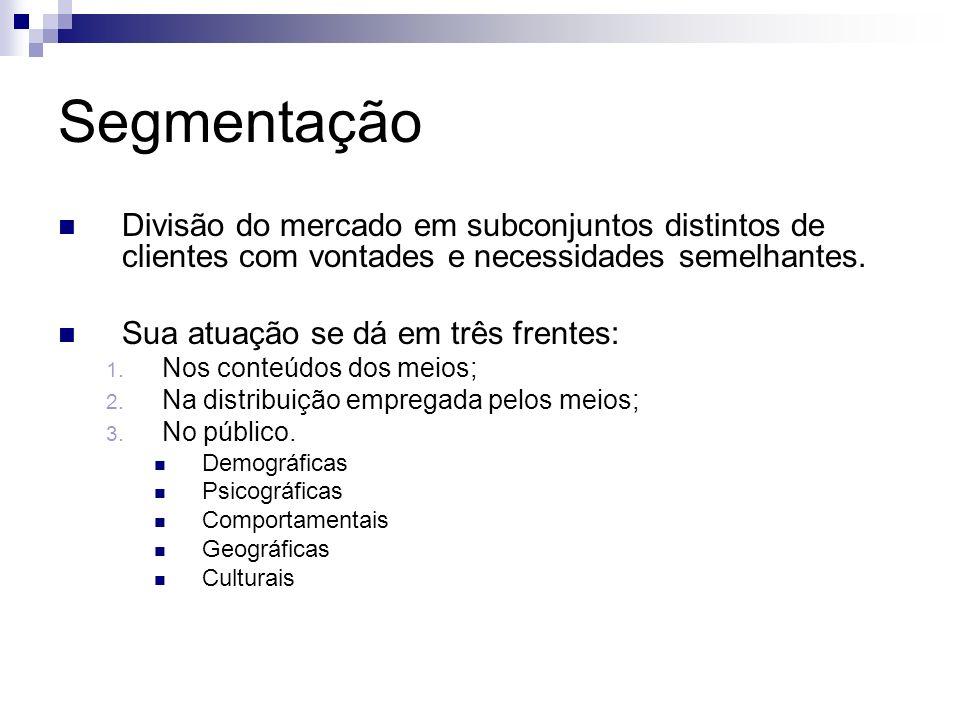 Segmentação Divisão do mercado em subconjuntos distintos de clientes com vontades e necessidades semelhantes. Sua atuação se dá em três frentes: 1. No