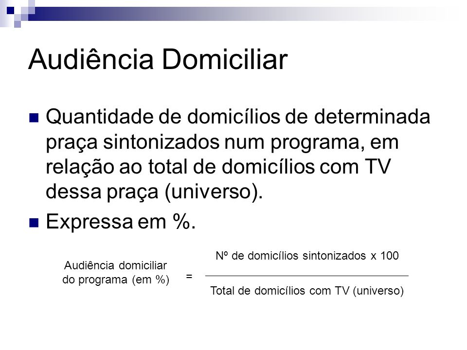 Audiência Domiciliar Quantidade de domicílios de determinada praça sintonizados num programa, em relação ao total de domicílios com TV dessa praça (un
