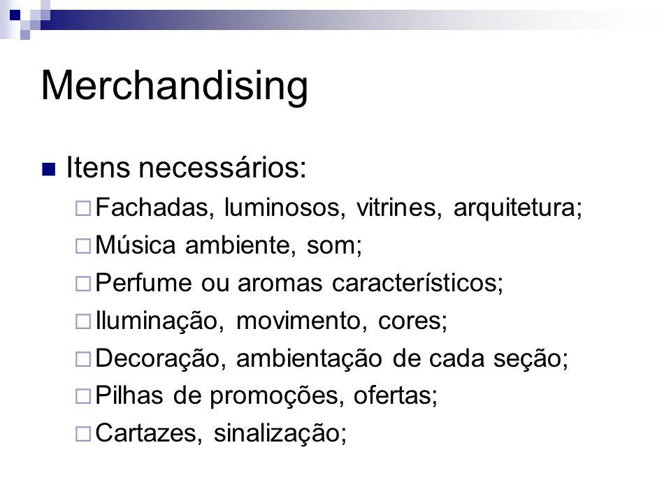 Merchandising Itens necessários: Fachadas, luminosos, vitrines, arquitetura; Música ambiente, som; Perfume ou aromas característicos; Iluminação, movi