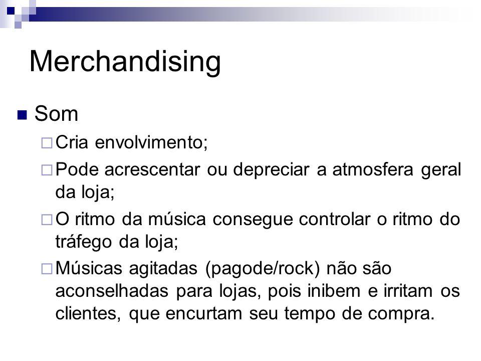 Merchandising Som Cria envolvimento; Pode acrescentar ou depreciar a atmosfera geral da loja; O ritmo da música consegue controlar o ritmo do tráfego