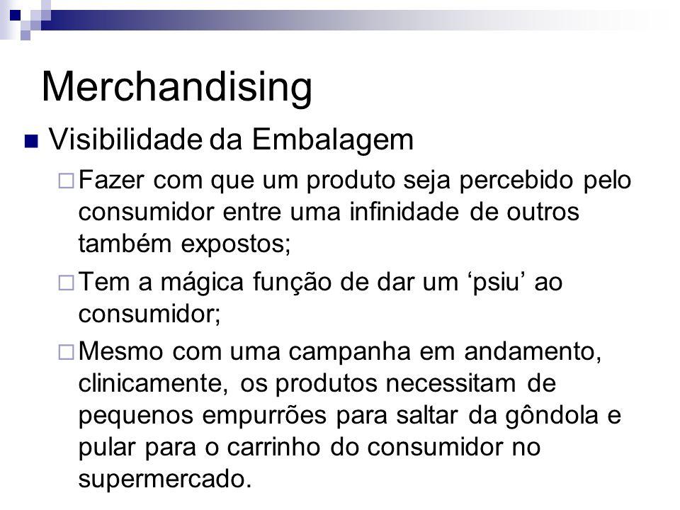 Merchandising Visibilidade da Embalagem Fazer com que um produto seja percebido pelo consumidor entre uma infinidade de outros também expostos; Tem a