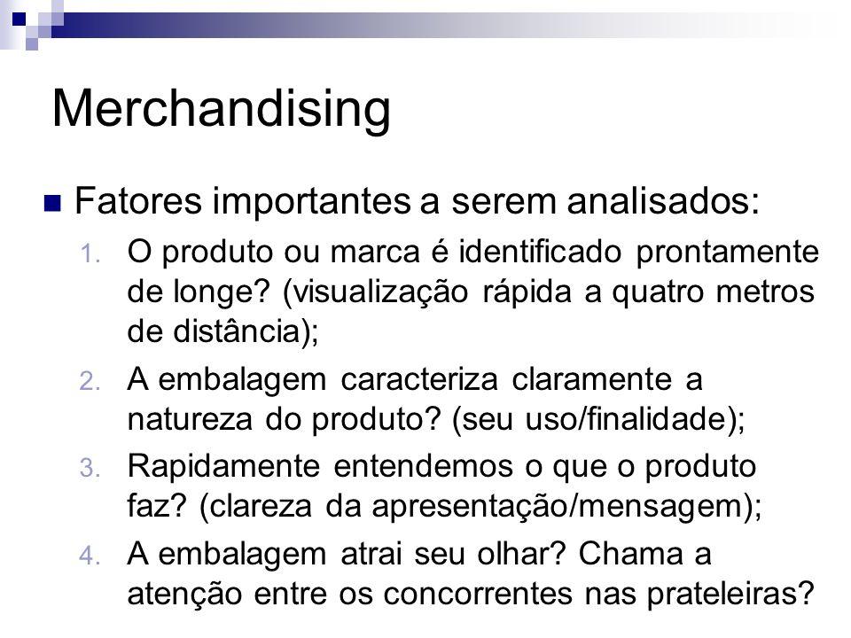 Merchandising Fatores importantes a serem analisados: 1. O produto ou marca é identificado prontamente de longe? (visualização rápida a quatro metros