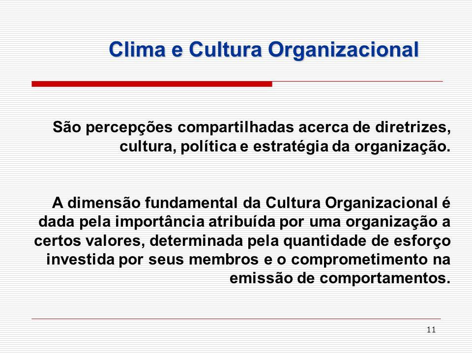 11 São percepções compartilhadas acerca de diretrizes, cultura, política e estratégia da organização. A dimensão fundamental da Cultura Organizacional