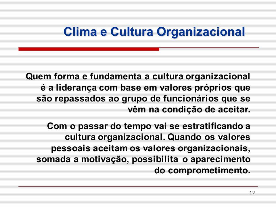 12 Clima e Cultura Organizacional Quem forma e fundamenta a cultura organizacional é a liderança com base em valores próprios que são repassados ao gr