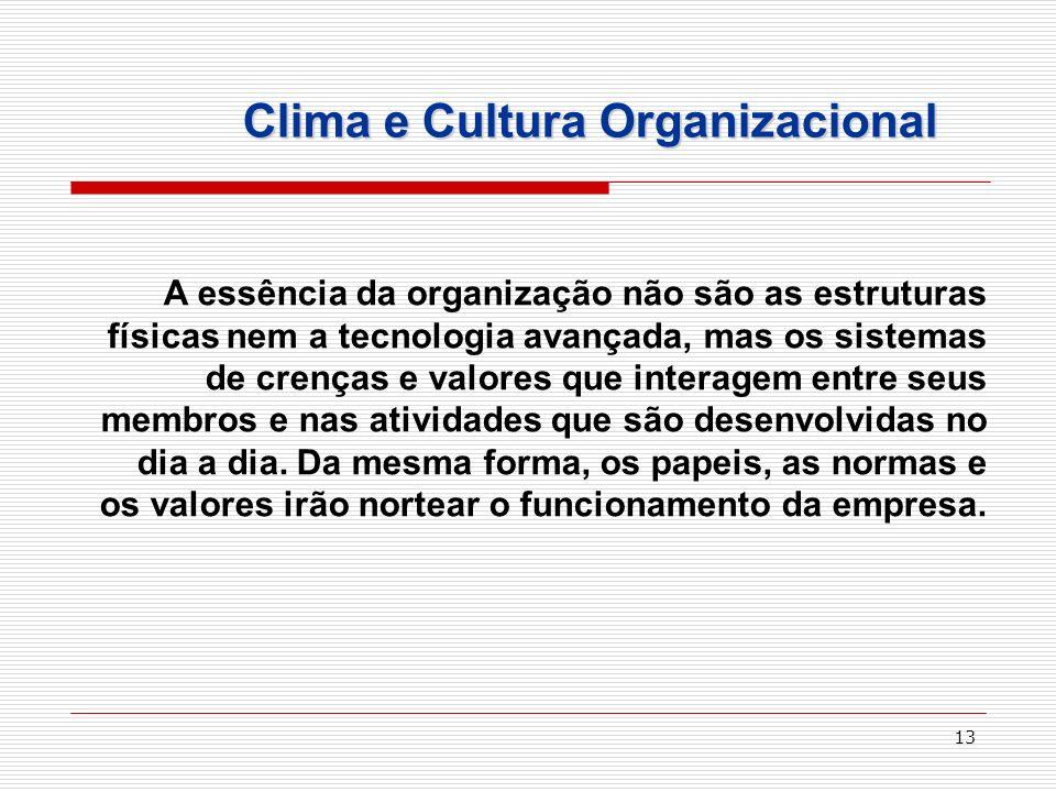 13 Clima e Cultura Organizacional A essência da organização não são as estruturas físicas nem a tecnologia avançada, mas os sistemas de crenças e valo