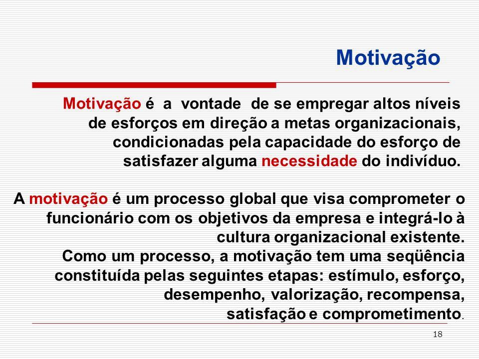 18 Motivação é a vontade de se empregar altos níveis de esforços em direção a metas organizacionais, condicionadas pela capacidade do esforço de satis