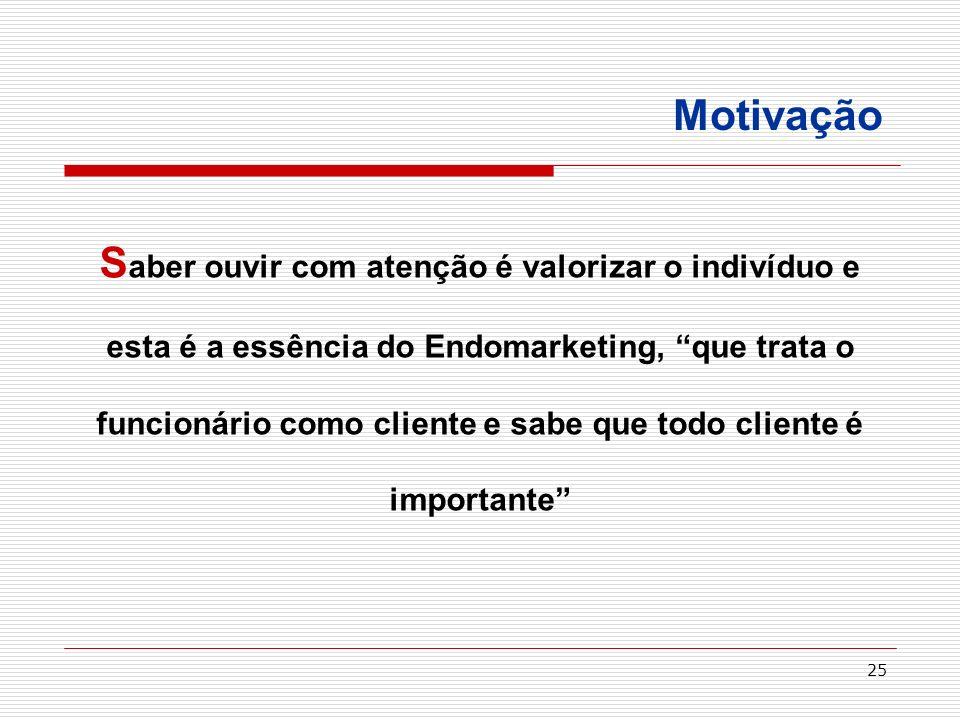 25 Motivação S aber ouvir com atenção é valorizar o indivíduo e esta é a essência do Endomarketing, que trata o funcionário como cliente e sabe que to