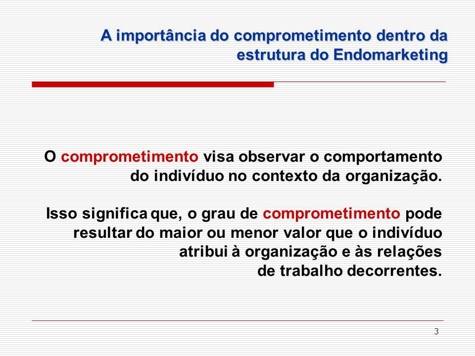 3 O comprometimento visa observar o comportamento do indivíduo no contexto da organização. Isso significa que, o grau de comprometimento pode resultar