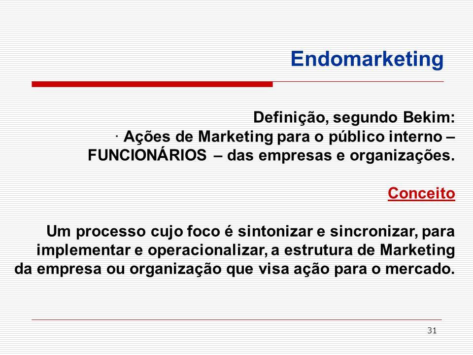 31 Endomarketing Definição, segundo Bekim: · Ações de Marketing para o público interno – FUNCIONÁRIOS – das empresas e organizações. Conceito Um proce