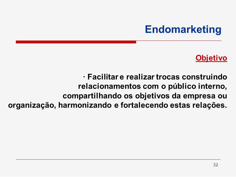 32 Endomarketing Objetivo · Facilitar e realizar trocas construindo relacionamentos com o público interno, compartilhando os objetivos da empresa ou o