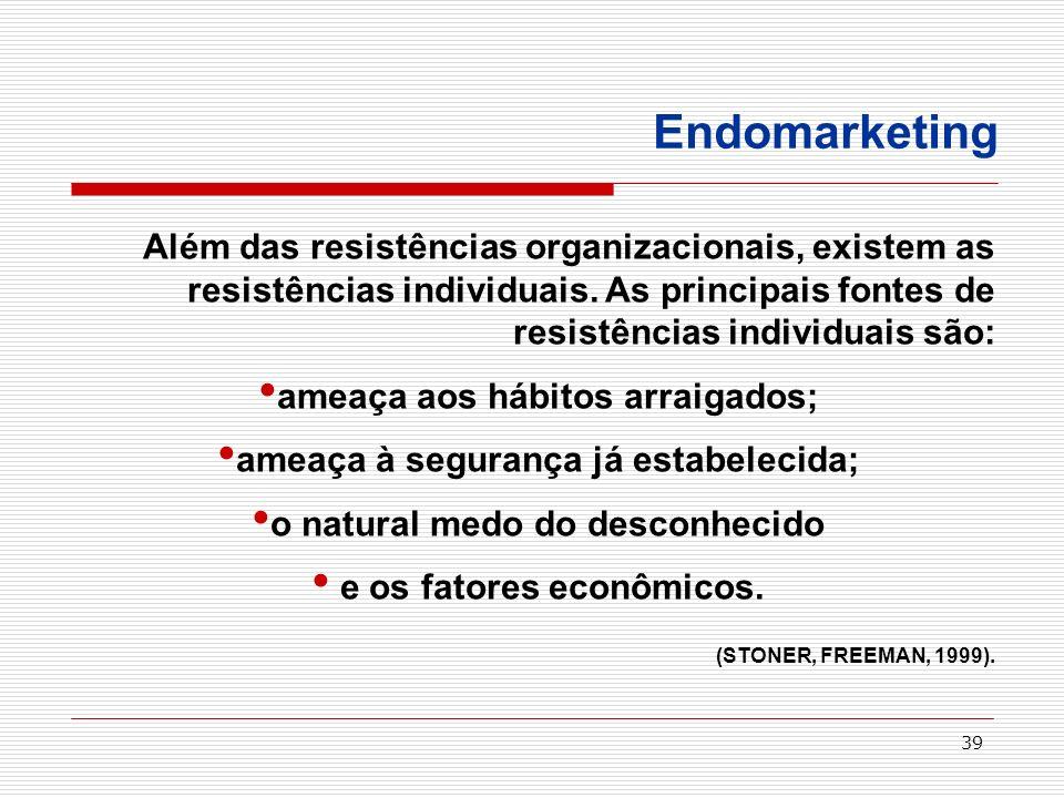 39 Endomarketing Além das resistências organizacionais, existem as resistências individuais. As principais fontes de resistências individuais são: ame