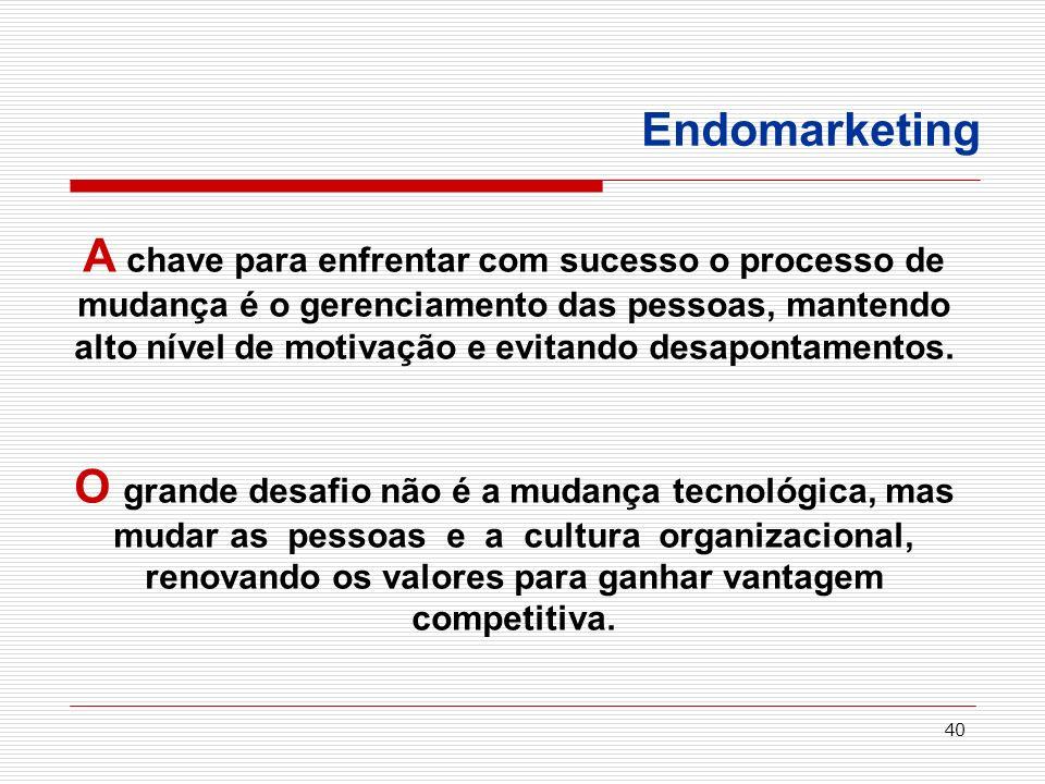 40 Endomarketing A chave para enfrentar com sucesso o processo de mudança é o gerenciamento das pessoas, mantendo alto nível de motivação e evitando d
