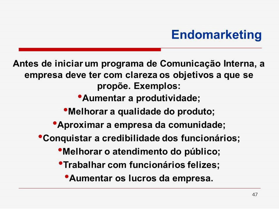 47 Endomarketing Antes de iniciar um programa de Comunicação Interna, a empresa deve ter com clareza os objetivos a que se propõe. Exemplos: Aumentar